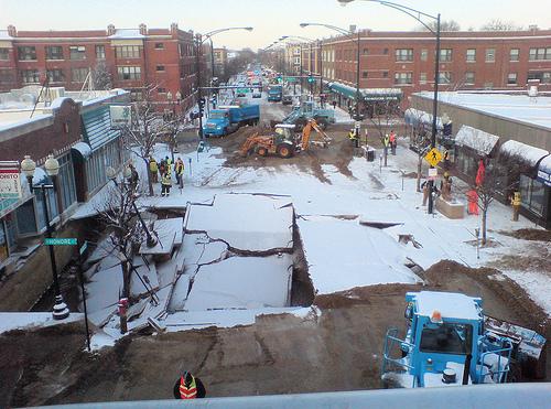 Montrose Avenue after the flood, January 2008